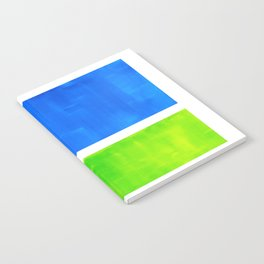 Abstract Minimalist Mid Century Modern Watercolor Geometric Squares Rothko Lime Green Marine Blue Notebook