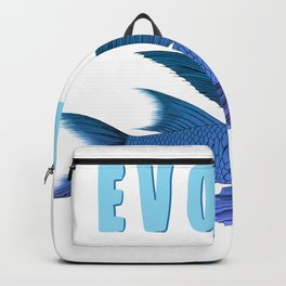 Blue fish with wings evolve- evolution message graphic  Backpack
