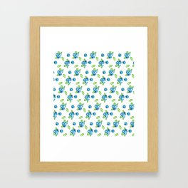Blueberry Watercolour Pattern Framed Art Print
