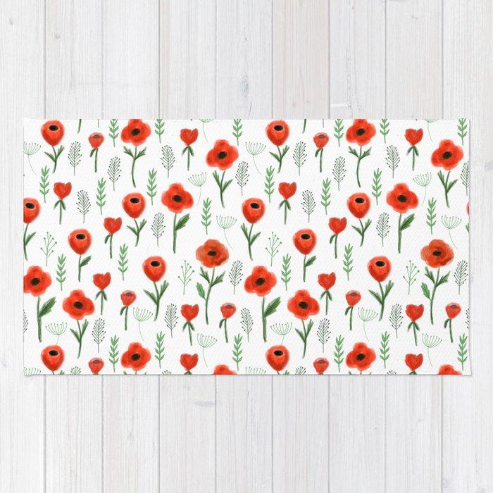 Poppy flower painted floral pattern minimal nursery happy decor poppy flower painted floral pattern minimal nursery happy decor gifts rug mightylinksfo