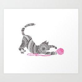 Cat With Pink Yarn Circle Art Art Print