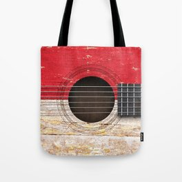 Old Vintage Acoustic Guitar with Indonesian Flag Tote Bag