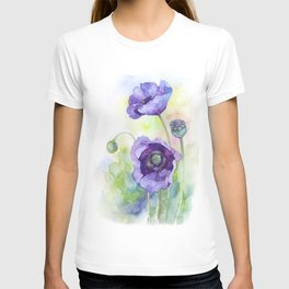 Watercolor blue poppy flowers T-shirt
