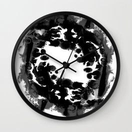 Enso black and white minimal watercolor japanese abstract painting zen art Wall Clock