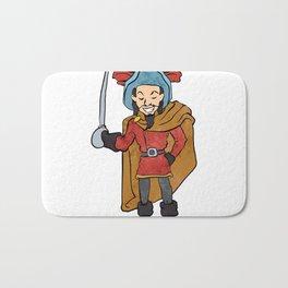 Musketeer Cape with Saber Cartoon Bath Mat