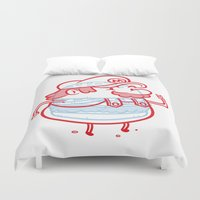 mario Duvet Covers featuring Cheeseburger Mario by Philip Tseng