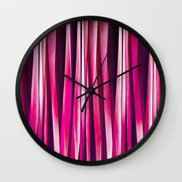 Burgundy Rose Stripy Lines Pattern Wall Clock
