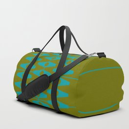 abstract eyes pattern aqua olive Duffle Bag