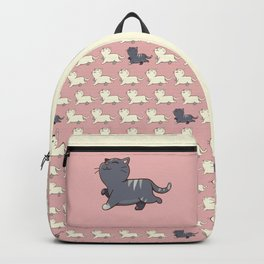 Proud cat pattern Pink Backpack