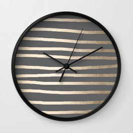 Simply Drawn Stripes White Gold Sands on Storm Gray Wall Clock