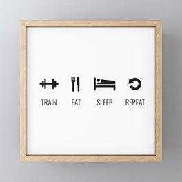 Train, Eat, Sleep, Repeat Framed Mini Art Print