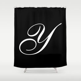 Elegant And Stylish Black And White Monogram Y Shower Curtain