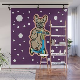 Electric Scooter Pug Wall Mural