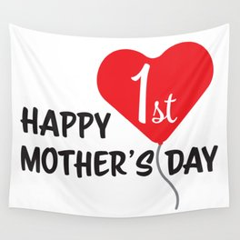 Happy First Mother's day Red Heart Balloon Wall Tapestry