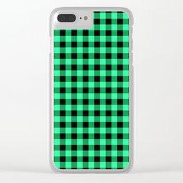 Green and black tartan plaid. Clear iPhone Case