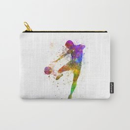 man soccer football player flying kicking Carry-All Pouch