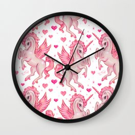 Pink Unicorn Pegasus Wall Clock
