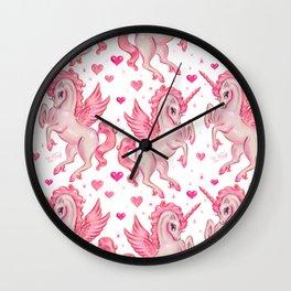 Pink Unicorn Pegasus Wall Clock