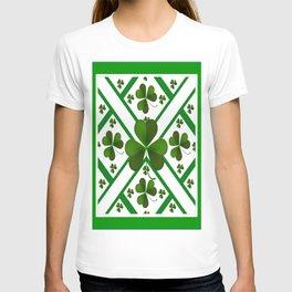 GREEN-WHITE SHAMROCKS PATTERN DECOR T-shirt