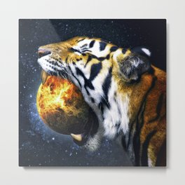Tiger Eating A Planet Metal Print