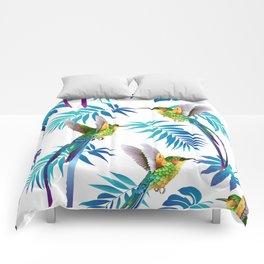 Cute Hummingbird & Tropical Leaves Comforters