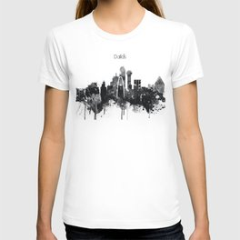 Dallas TexasBlack White Skyline Poster T-shirt