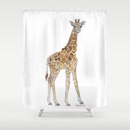 Baby Giraffe Watercolor Painting Shower Curtain