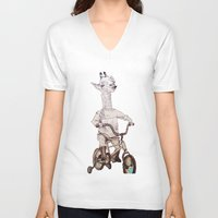 chile V-neck T-shirts featuring where you be chile? by Asia Fuse Dirty Tease
