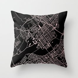 Wilkes-Barre Rose Gold and White Map Throw Pillow