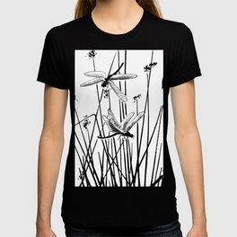 Minimal Art Flower Field Dragonflies White T-shirt