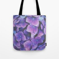 hydrangea Tote Bags featuring Hydrangea by Christine Hall