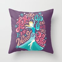 risa rodil Throw Pillows featuring Snow Queen by Risa Rodil