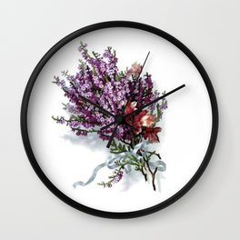 Vintage Lavender Bouquet Wall Clock