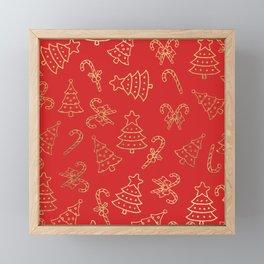 Elegant Christmas Red Faux Gold Foil Candy Cane Tree  Framed Mini Art Print