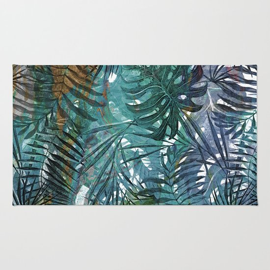 aloha tropical palm leaves and monstera leaf garden rug by utart society6. Black Bedroom Furniture Sets. Home Design Ideas