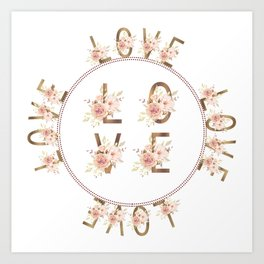 Modern Watercolour Floral Gold LOVE typography Art Print