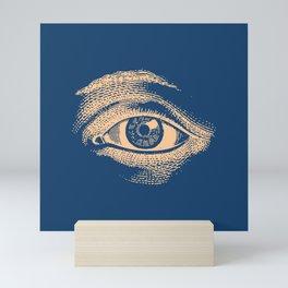 Retro Vintage Blue Eye Pattern Mini Art Print