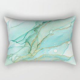 Magic Bloom Flowing Teal Blue Gold Rectangular Pillow