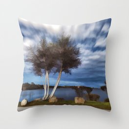Birch tree by the pond Throw Pillow