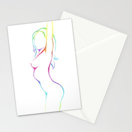 Female figure line art Stationery Cards