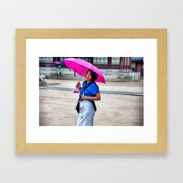Korean Woman in the Rain Framed Art Print