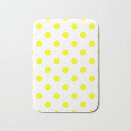 Polka Dots - Yellow on White Bath Mat
