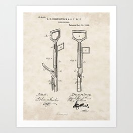Weed Puller Vintage Patent Hand Drawing Art Print