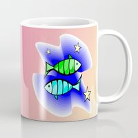 astrology Mugs featuring Astrology, fish by Karl-Heinz Lüpke