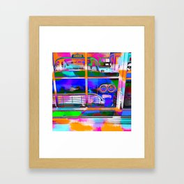 blue classic taxi car with painting abstract in green pink orange  blue Framed Art Print