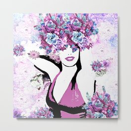 BEAUTIFUL GIRL WITH FLOWERS Metal Print