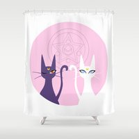 sailormoon Shower Curtains featuring Luna and Artemis - Pink by gracekansai