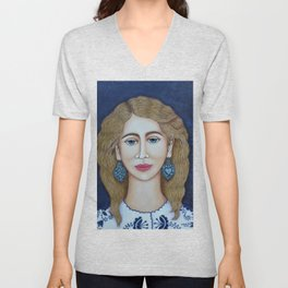 Woman with silver earrings Unisex V-Neck