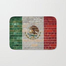 Mexico flag on a brick wall Bath Mat
