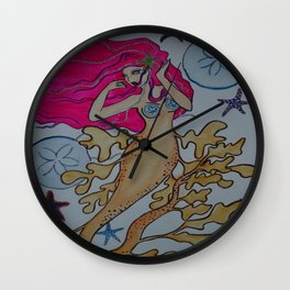 Siren of Starfish and Sand Dollars Wall Clock